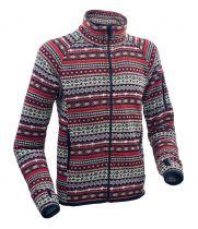 Warmpeace Bergen red bunda z fleecového materiálu se svetrovým vzorem
